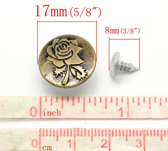 Boutons pression pour jeans vieux bronzé fleur motif en métal 50 sets 17mm