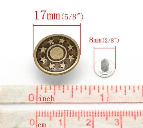 Boutons pression pour jeans vieux bronzé cuivre étoile en métal 6 sets 17 mm